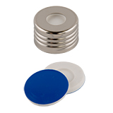 ND18 Magnetic Screw Cap (8mm hole) with Silicone/PTFE SPME MicroCenter Septa (white/blue), pk.100
