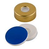 ND20 Magnetic Crimp Cap (8mm hole) with Silicone/PTFE SPME MicroCenter Septa , pk.100