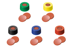 ND9 Short Thread Screw Caps with Septa Natural Rubber/TEF