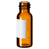 1.5ml Screw Neck Vial 32 x 11.6mm (amber) with label & filling lines, 8-425, narrow opening, pk.100 - Silanized