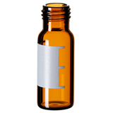 1.5ml Short Thread Vial 32 x 11.6mm (amber) with label & filling lines, wide opening, pk.100 - Silanized