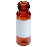 0.3ml Short Thread Vial 32 x 11.6mm (amber) with label, integrated insert, pk.100 - Base Bonded