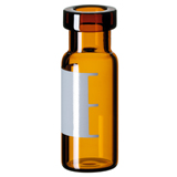 1.5ml Crimp Neck Vial 32 x 11.6mm (amber) with label & filling lines, wide opening, pk.100 - Silanized