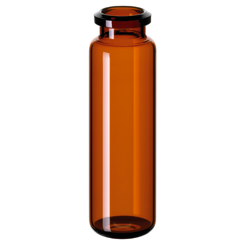 20ml ND20 Headspace Crimp Vial (amber), 75.5 x 23mm, rounded bottom, pk.100