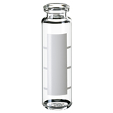 20ml ND20 Headspace Crimp Vial (clear) with label and filling lines, 75.5 x 23mm, rounded bottom, pk.100