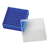 PP Storage Box for 12mm OD Vials (blue), 130 x 130 x 45mm, 81 Position, ea.