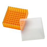 PP Storage Box for 12mm OD Vials (orange), 130 x 130 x 45mm, 81 Position, ea.
