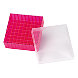 PP Storage Box for 12mm OD Vials (pink), 130 x 130 x 45mm, 81 Position, ea.
