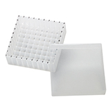 PP Storage Box for 12mm OD Vials (transparent), 130 x 130 x 45mm, 81 Position, ea.