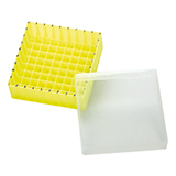 PP Storage Box for 12mm OD Vials (yellow), 130 x 130 x 45mm, 81 Position, ea.