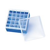 PP Storage Box for 24mm OD Vials (blue), 130 x 130 x 102mm, 25 Position, ea.
