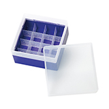 PP Storage Box for 28mm OD EPA Vials (violett), 130 x 130 x 80mm, 16 Position, ea.